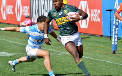 Siviwe Soyizwapi scored one of the Blitzboks two tries against Argentina. Picture: Twitter/@Blitzboks