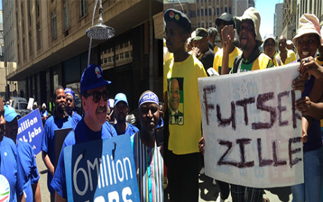 Members of the Democratic Alliance were met with resistance from ANC supporters as the opposition party took to the streets of the Johannesburg CBD for their 'Real jobs march' on 12 February 2014. Picture: Reinart Toerien.