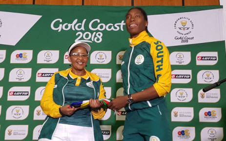 Caster Semenya (right) is congratulated by Sports Minister Tokozile Xasa on her Commonwealth Games performances. Picture: Twitter/@TeamSA18