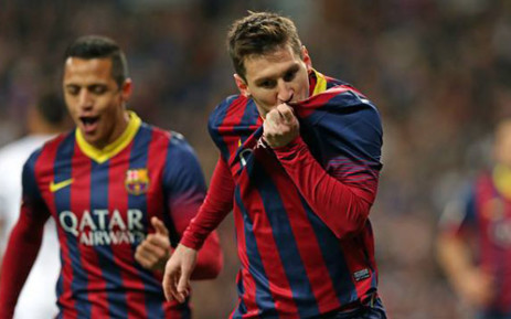 Lionel Messi celebrates after netting his third goal against Real Madrid during the Clasico match on 23 March 2014. Picture: Facebook.