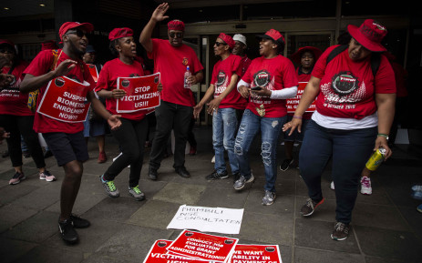 Nehawuworkers protest outside one of the Sassa offices in Johannesburg on 10 October 2018. The strike was against Sassa's biometric system for beneficiaries. Picture: Abigail Javier/EWN