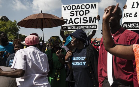 A group of supporters at Vodaworld in support of 'Please call me' inventor Nkosana Makate's. Picture: Kayleen Morgan/EWN