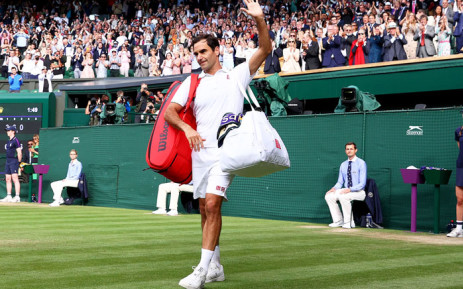 Roger Federer acknowledges the crowd following his Wimbledon quarterfinal defeat to Hubert Hurkacz on 7 July 2021. Picture: @atptour/Twitter
