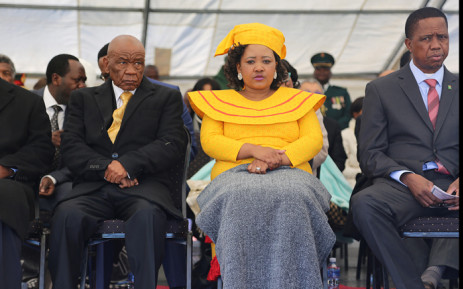 FILE: Lesotho prime Minister Thomas Thabane (L), leader of the All Basotho Convention (ABC) political party, his wife 'Ma Isaiah Ramoholi Thabane and Zambian President Edgar Lungu (R) attend Thabane's inauguration on June 16, 2017 in Maseru. Lesotho's new prime minister took office at the head of a coalition government, three years after he was targeted by a putsch and two days after the murder of his estranged wife. Picture: AFP