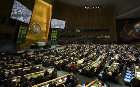 Delegates to the United Nations General Assembly 2 April 2013 after passing the first UN treaty regulating the international arms trade. Picture: AFP