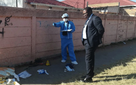 Gauteng MEC Panyaza Lesufi outside Forest High School where a pupil died after being stabbed. Picture: @Lesufi/Twitter.