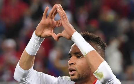 Morocco's forward Youssef En-Nesyri gestures as he celebrates a goal during the Russia 2018 World Cup Group B football match between Spain and Morocco at the Kaliningrad Stadium in Kaliningrad on 25 June 2018. Picture: AFP
