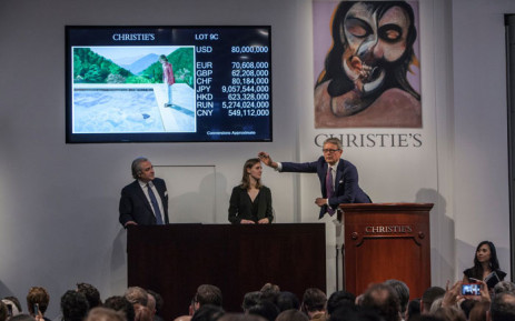 Auction house Christie's takes bids on David Hockney's 'Portrait of an Artist (Pool with Two Figures)'. Picture: @ChristiesInc/Twitter