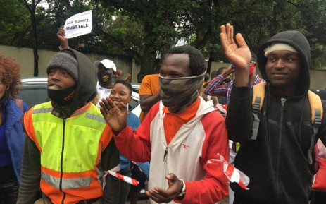 Bolt SA drivers protesting at the e-hailing service's offices in Bryanston on 12 October 2020. Picture: Edwin Ntshidi/EWN