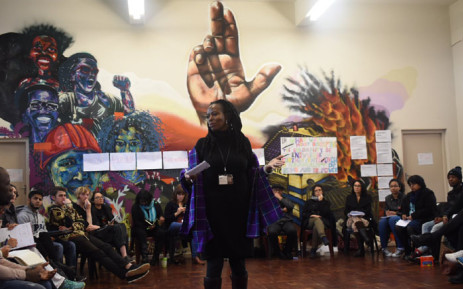 Professor Elelwani Ramugondo presenting on colonial education and ways in which these norms can be challenged in the academy. Picture: @DecolonialEdu/Twitter.