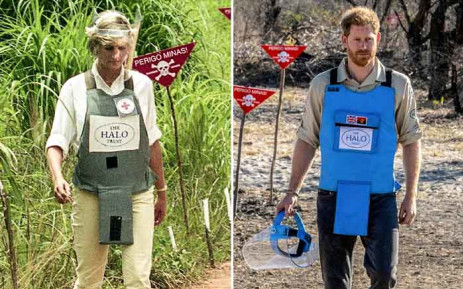 A combination of images shows handout photos made available by the Halo Trust of Prince Harry, Duke of Sussex, visiting the minefield in Dirico, Angola, on 27 September 2019, and his late mother Diana, Princess of Wales, during her visit to a minefield in Angola on 15 January 1997. Picture: AFP