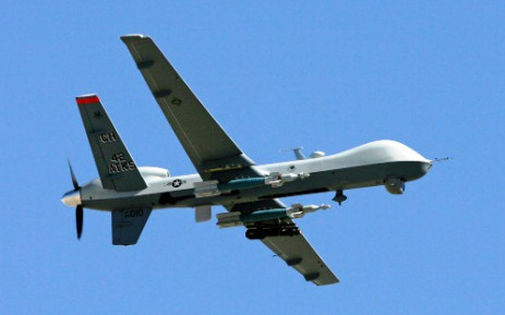 An MQ-9 Reaper drone flying at Creech Air Force Base in Indian Springs, Nevada. Picture: AFP