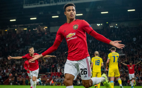 Manchester United's Mason Greenwood celebrates his goal over Astana in their UEFA Europa League match on 19 September 2019. Picture: @ManUtd/Twitter