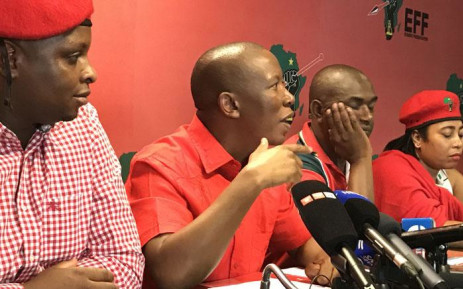 Economic Freedom Fighters leader Julius Malema (C) pictured during a press briefing on 14 February 2017. Picture: Kgothatso Mogale/EWN