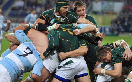 The Springboks take on the Pumas in the 2007 Rugby World Cup semi-final. Picture: AFP