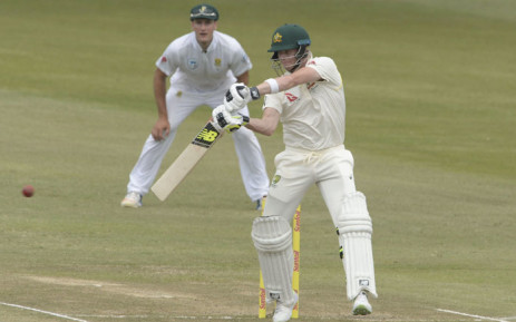 Australia captain Steve Smith in action on the first day of the second test against South Africa. Picture: @OfficialCSA/Twitter.