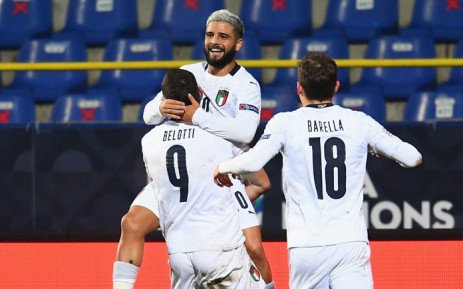 Italy players celebrate a goal in their UEFA Nations League match on 18 November 2020. Picture: @EURO2020/Twitter