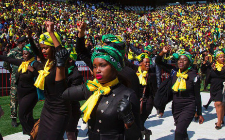 Members of the ANCWL dressed in black with doeks. Picture: Twitter @MYANC