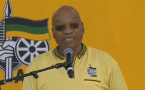This screengrab shows President Jacob Zuma, delivering his key note address at the ANC 103 birthday celebration held at the Cape Town Stadium on 10 January 2015.