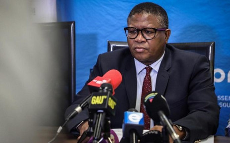 Transport Minister Fikile Mbalula addresses the media during a briefing on the Eerste Fabrieke train station collision. Picture: Abigail Javier/EWN