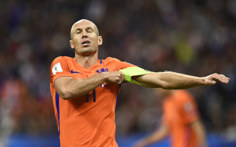 Netherlands' forward Arjen Robben reacts during the 2018 Fifa World Cup qualifying football match France vs Netherlands at the Stade de France in Saint-Denis, north of Paris, on 31 August 2017. Picture: AFP