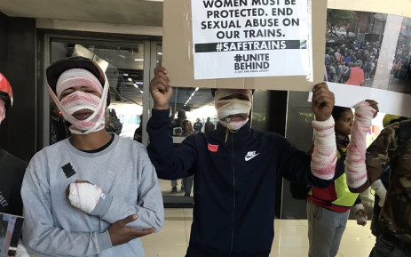 Activists and commuters came to the protest at the Cape Town train station in bandages and fake blood to symbolise the lives lost while using public transport. Picture: Lizell Persens/EWN