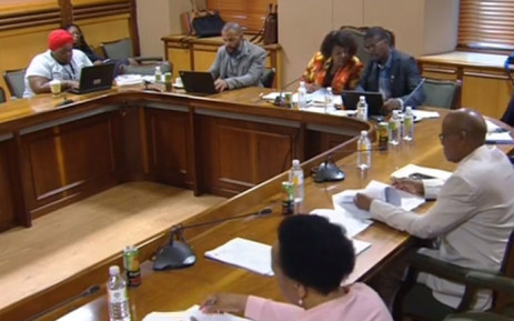 A screengrab of Parliament's communications committee interviewing candidates for the SABC board.