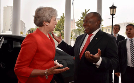 British Prime Minister Theresa May pictured in Cape Town with South African President Cyril Ramaphosa, on 28 August 2018. Picture: @PresidencyZA/Twitter