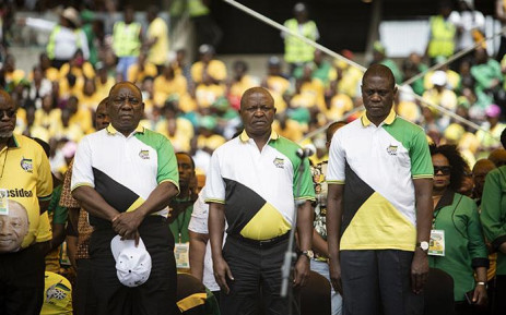(From left) Cyril Ramaphosa, David Mabuza and Paul Mashatile during the ANC's 107th birthday celebration at the Moses Mabhida Stadium in Durban on 12 January 2018. Picture: Sethembiso Zulu/EWN
