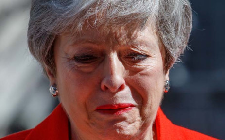 Britain's Prime Minister Theresa May reacts as she announces her resignation outside 10 Downing Street in central London on 24 May 2019. Picture: AFP.