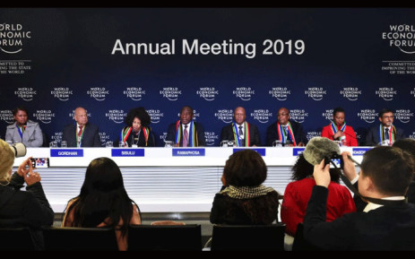 President Cyril Ramaphosa addressing the Global Press Conference supported by his delegation during the World Economic Forum taking place in Davos-Klosters, in Switzerland on 23 January 2019. Picture: GCIS.