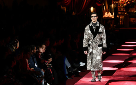 A model presents a creation for fashion house Dolce   Gabbana during its  Men s Fall  73db990b1dfac