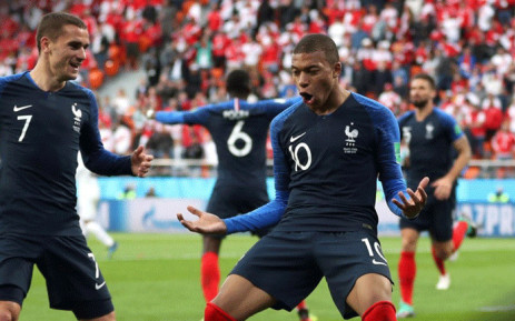 FILE: France's Kylian Mbappe (R) celebrates scoring their first goal with Antoine Griezmann (L). Picture: @FIFAWorldCup/Twitter.