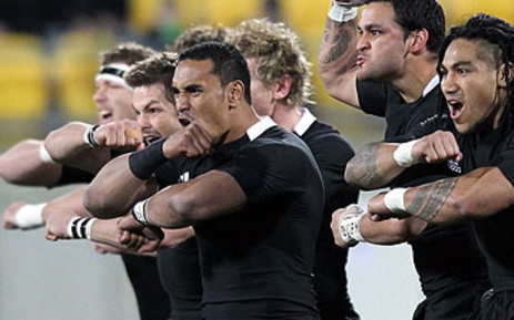 The All Blacks perform the haka during their Tri-Nations match against South Africa at Westpac Stadium in Wellington on July 30, 2011. Picture: AFP
