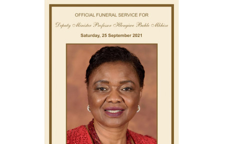 Hlengiwe Mkhize was laid to rest on 25 September 2021. Picture: GCIS.