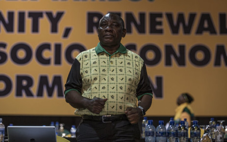 New president of the ANC Cyril Ramaphosa dances on stage before his address at the Nasrec Expo Centre in Johannesburg on December 20, 2017, during the African National Congress (ANC) 54th National Conference. Picture: AFP