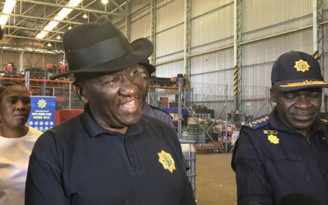 Police Minister Bheki Cele at the SAPS central liquor storage facility in Belhar, where 10,000 liters of alcohol were destroyed on 2 January 2019. Picture: Lauren Isaacs/EWN