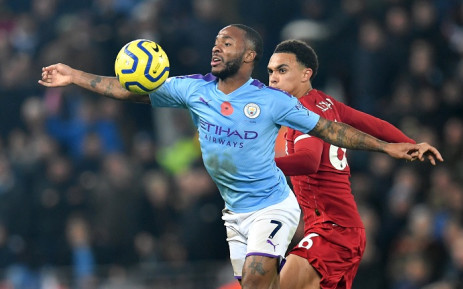 Manchester City's English midfielder Raheem Sterling (L) vies with Liverpool's English defender Trent Alexander-Arnold (R) during the English Premier League football match between Liverpool and Manchester City at Anfield in Liverpool, north-west England on 10  November 2019. Picture: AFP