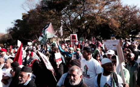 Thousands of people joined a pro-Palestinian march to the Israeli embassy in Pretoria, 25 July 2014. Picture: Lesego Ngobeni/EWN.