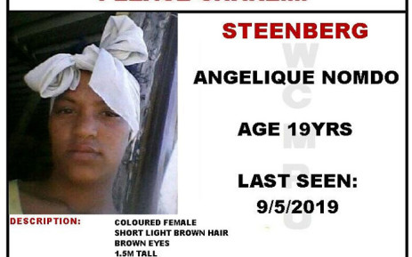Angelique Nomdo has been missing since 9 May 2019. Picture: Western Cape Missing Persons Unit.