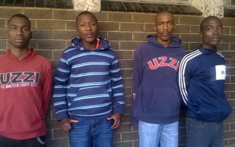 Mthinta Bhengu, Sifundo Mzimela, Sizwe Mngomezulu & Ayanda Sibiya are accused of stabbing Emmanuel Sithole to death made a brief court appearance at the Alexandra Magistrate Court on 21 April 2015. Picture: @SAPoliceService.