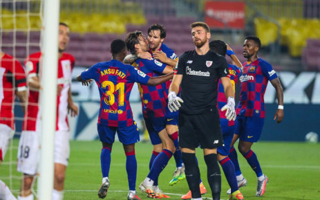 Barcelona players celebrate a goal against Levante on 23 June 2020. Picture: @FCBarcelona/Twitter