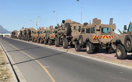 Soldiers joined police and law enforcement officials in trying to bring stability in Dunoon amid protests. Picture: Kevin Brandt/EWN.
