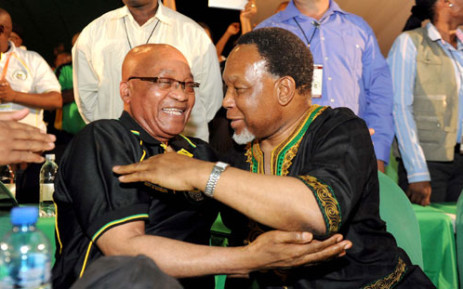 ANC President Jacob Zuma and former deputy president Kgalema Motlanthe embrace during the announcement of the ANC's top six at the party's Mangaung conference. Picture: ANC