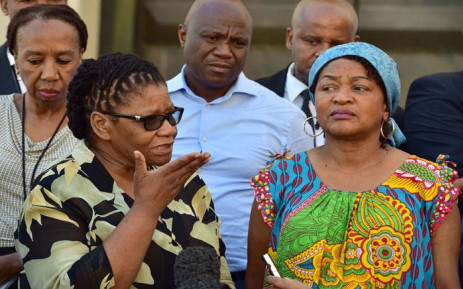 NCOP Chair Thandi Modise (L) and National Assembly Speaker Baleka Mbete (R) announcing the postponement of the State of the Nation Address outside Parliament on 6 February 2018. Picture: AFP.