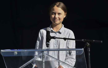 Swedish climate activist Greta Thunberg takes to the podium to address young activists and their supporters during the rally for action on climate change on 27 September 2019 in Montreal, Canada. Picture: AFP