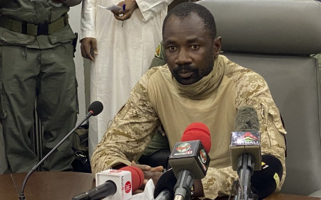 In this file photograph taken on August 19, 2020, Colonel Assimi Goita speaks to the press at the Malian Ministry of Defence in Bamako, after confirming his position as the president of the National Committee for the Salvation of the People (CNSP). Picture: Malik Konate / AFP