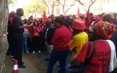 SACP members protesting outside NPA offices on Friday, 30 August 2019 over state capture. Picture: @SACP1921/Twitter