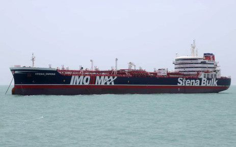 This handout picture released by Tasnim News Agency on 20 July 2019, shows British-flagged tanker Stena Impero anchored in Bandar Abbas in southern Iran. Picture: AFP.