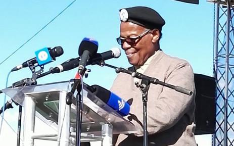 Inkatha Freedom Party (IFP) President Mangosuthu Buthelezi addressed a large crowd of people at the party's rally in Nkandla, KwaZulu-Natal. Picture: Rafiq Wagiet/EWN.